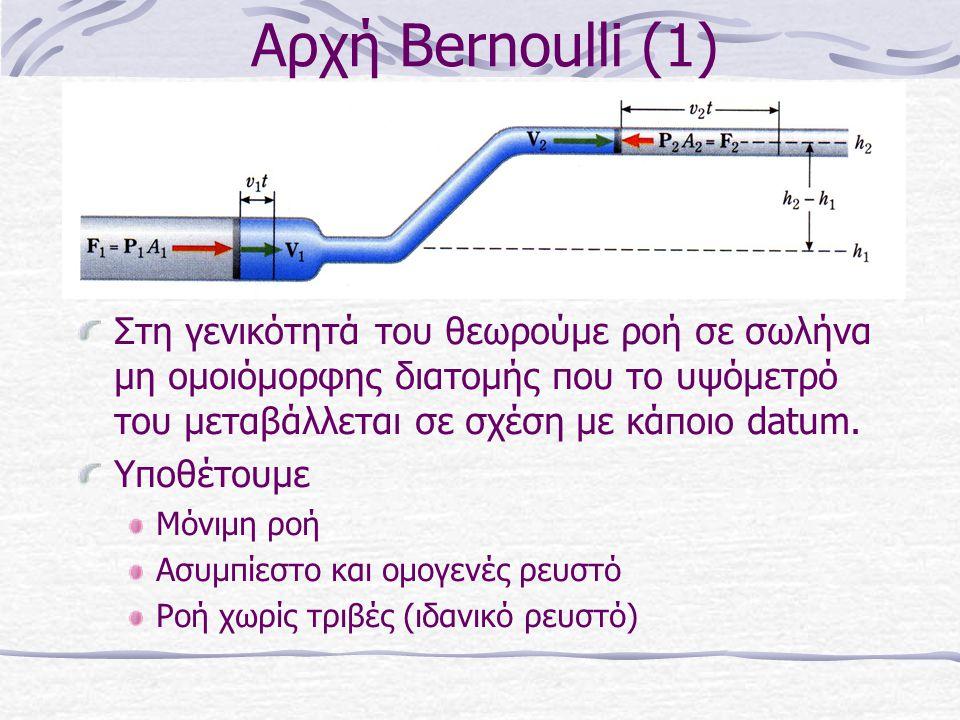 Αρχή Bernoulli (1) Στη γενικότητά του θεωρούμε ροή σε σωλήνα μη ομοιόμορφης διατομής που το υψόμετρό του μεταβάλλεται σε σχέση με κάποιο datum.