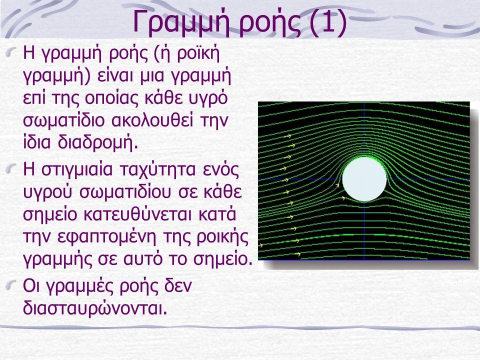 Γραμμή ροής (1) Η γραμμή ροής (ή ροϊκή γραμμή) είναι μια γραμμή επί της οποίας κάθε υγρό σωματίδιο ακολουθεί την ίδια διαδρομή.