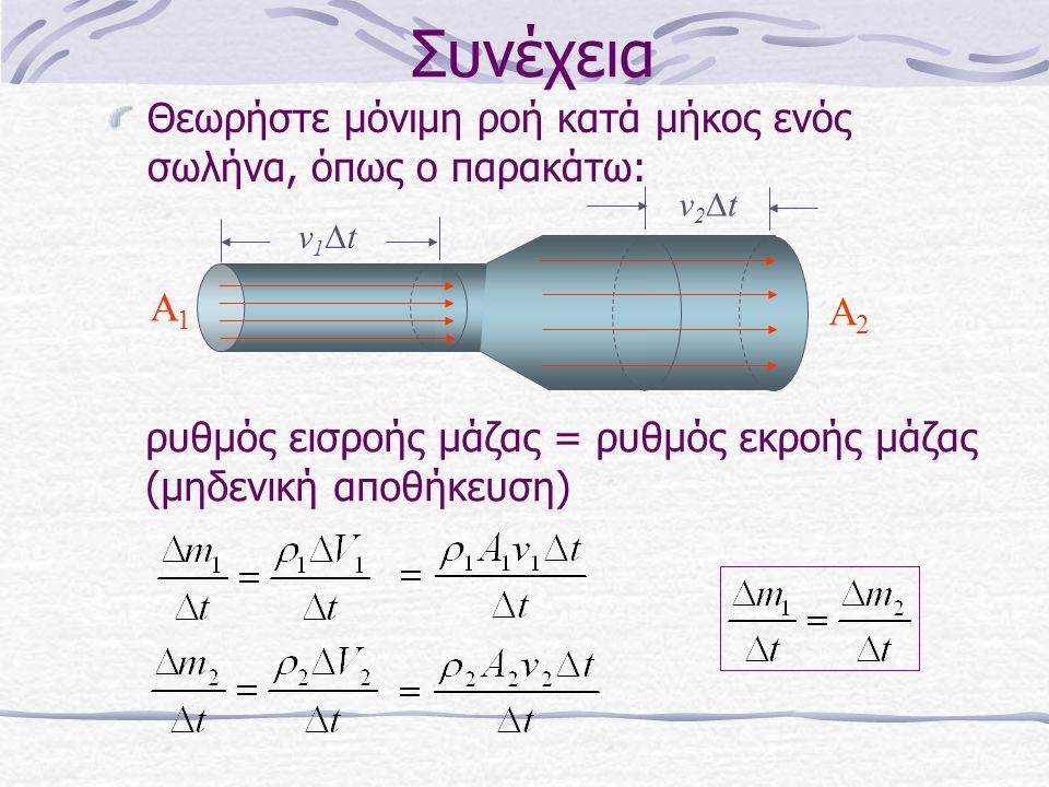 Συνέχεια Θεωρήστε μόνιμη ροή κατά μήκος ενός σωλήνα, όπως ο παρακάτω: