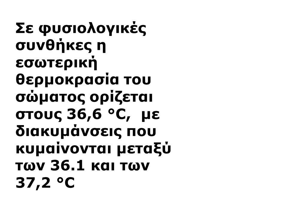 Σε φυσιολογικές συνθήκες η εσωτερική θερμοκρασία του σώματος ορίζεται στους 36,6 °C, με διακυμάνσεις που κυμαίνονται μεταξύ των 36.1 και των 37,2 °C