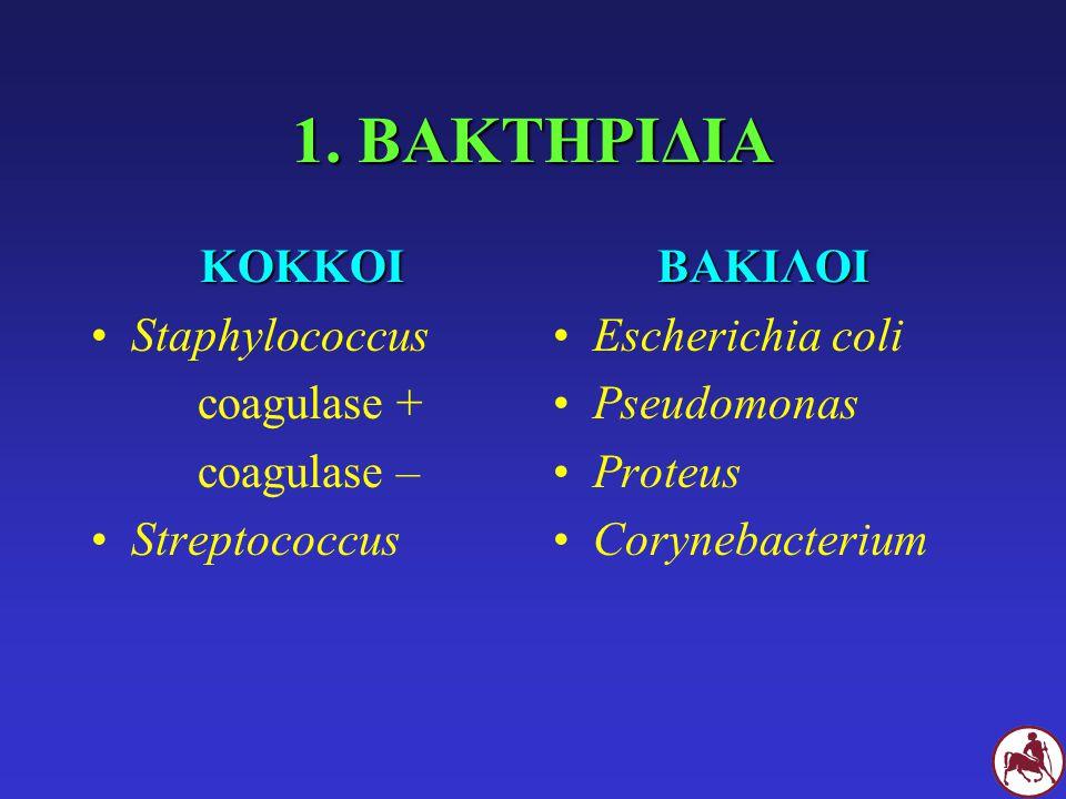 1. ΒΑΚΤΗΡΙΔΙΑ ΚΟΚΚΟΙ Staphylococcus coagulase + coagulase –