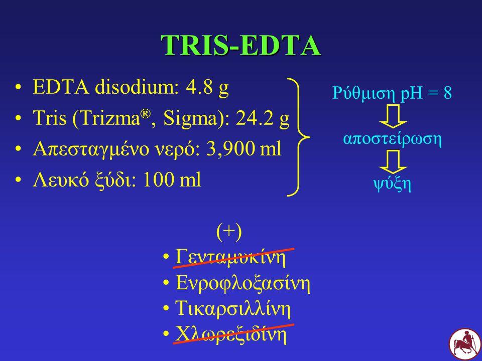 TRIS-EDTA EDTA disodium: 4.8 g Tris (Trizma®, Sigma): 24.2 g
