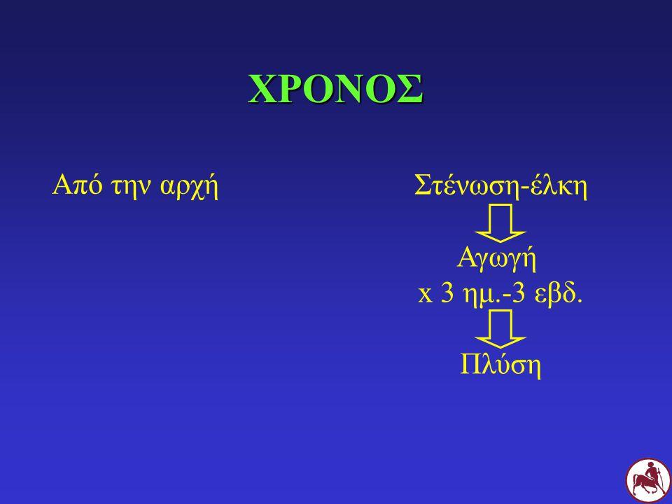 ΧΡΟΝΟΣ Από την αρχή Στένωση-έλκη Αγωγή x 3 ημ.-3 εβδ. Πλύση