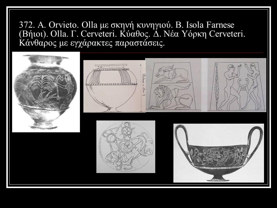 372. Α. Orvieto. Olla με σκηνή κυνηγιού. Β. Isola Farnese (Βήιοι).