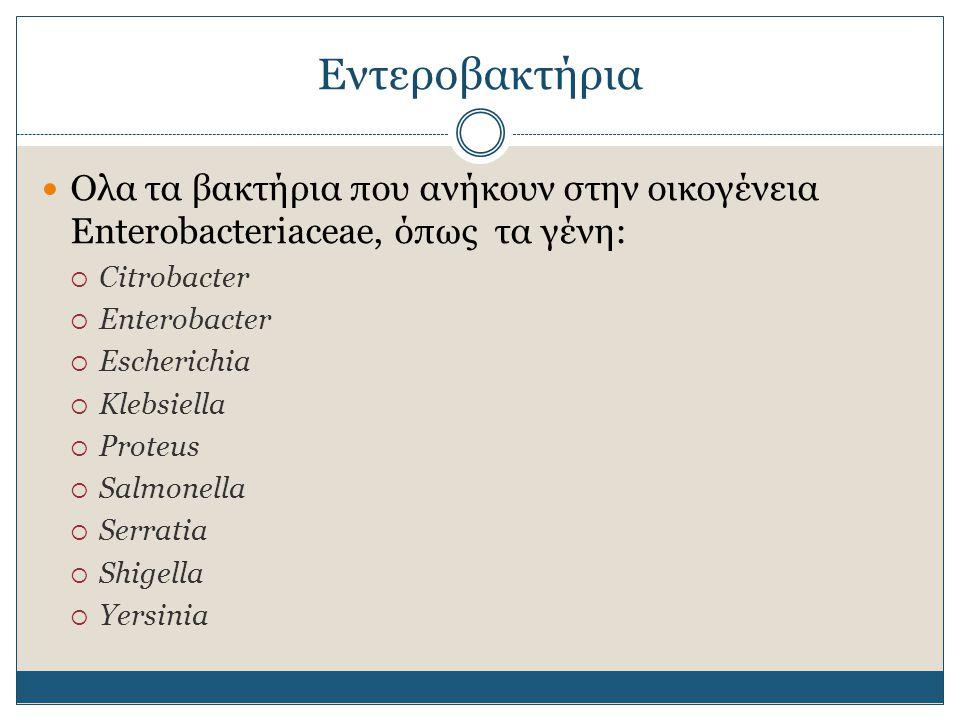 Εντεροβακτήρια Ολα τα βακτήρια που ανήκουν στην οικογένεια Enterobacteriaceae, όπως τα γένη: Citrobacter.