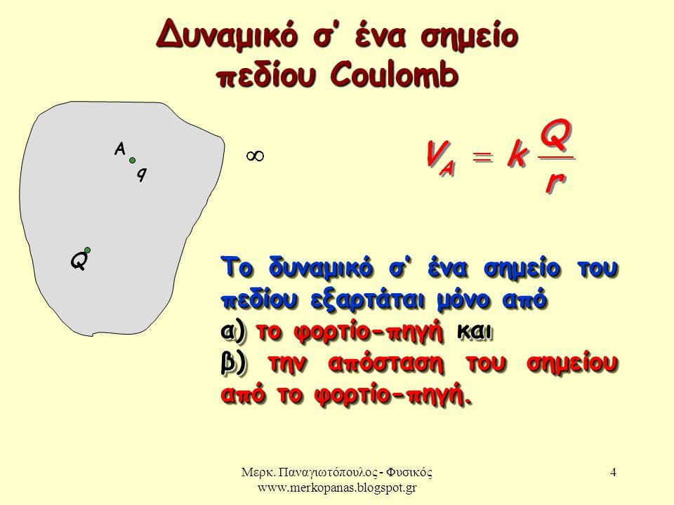 Δυναμικό σ' ένα σημείο πεδίου Coulomb