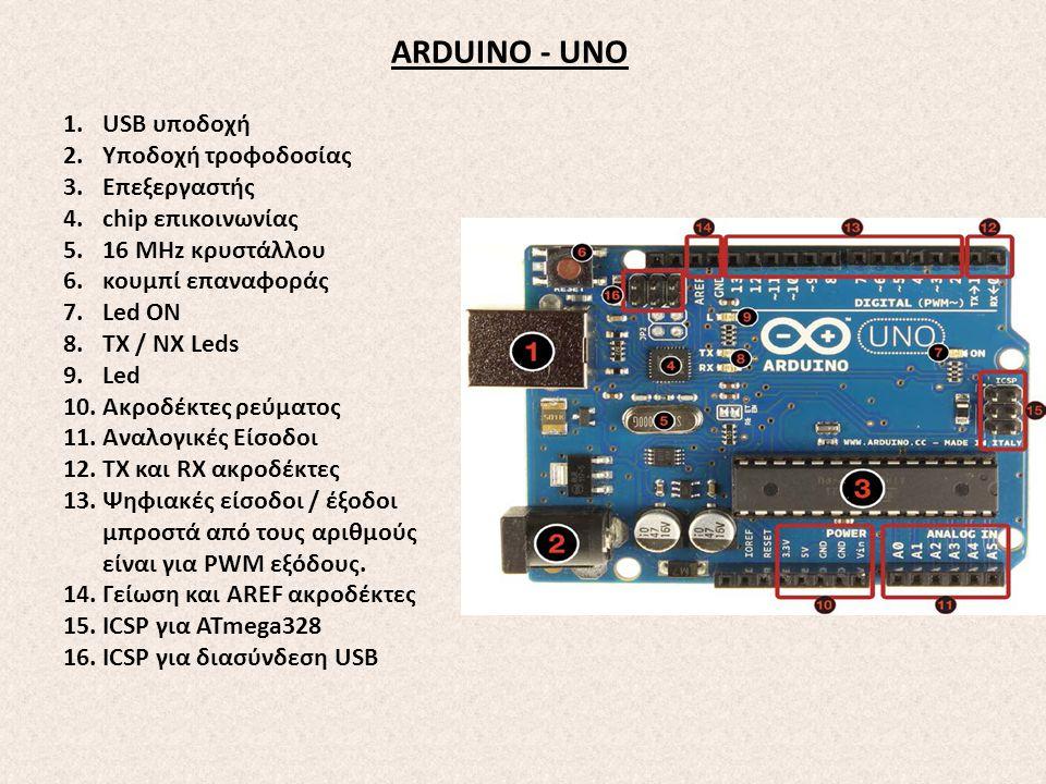 ARDUINO - UNO USB υποδοχή Υποδοχή τροφοδοσίας Επεξεργαστής