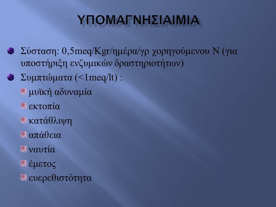 υπομαγνησιαιμια Σύσταση: 0,5meq/Kgr/ημέρα/γρ χορηγούμενου Ν (για υποστήριξη ενζυμικών δραστηριοτήτων)