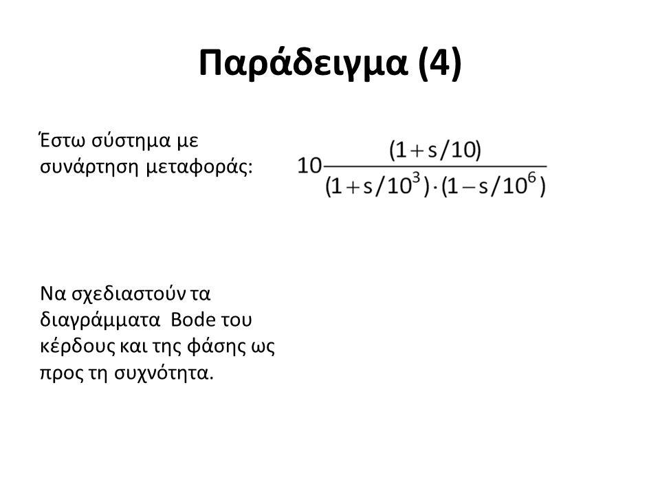 Παράδειγμα (4) Έστω σύστημα με συνάρτηση μεταφοράς: