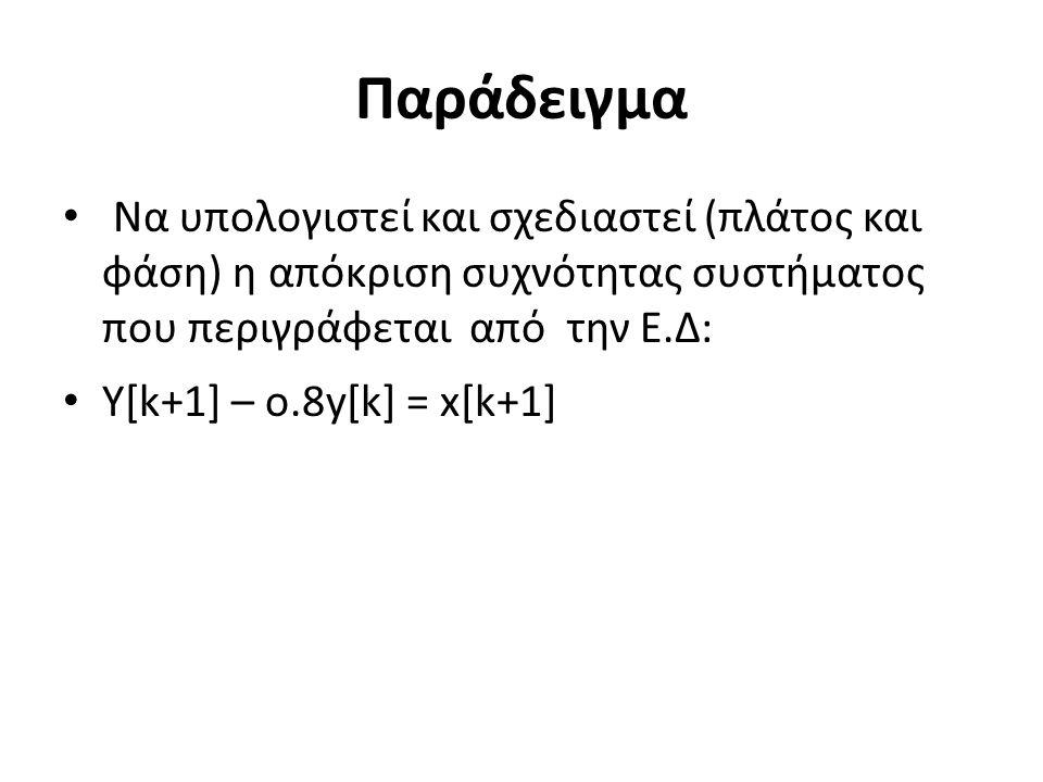 Παράδειγμα Να υπολογιστεί και σχεδιαστεί (πλάτος και φάση) η απόκριση συχνότητας συστήματος που περιγράφεται από την Ε.Δ: