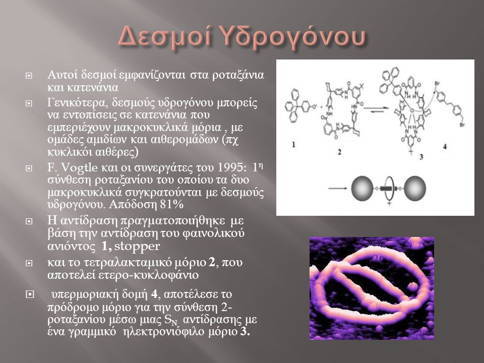 Δεσμοί Υδρογόνου Αυτοί δεσμοί εμφανίζονται στα ροταξάνια και κατενάνια.