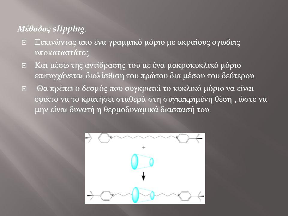 Μέθοδος slipping. Ξεκινώντας απο ένα γραμμικό μόριο με ακραίους ογωδεις υποκαταστάτες.