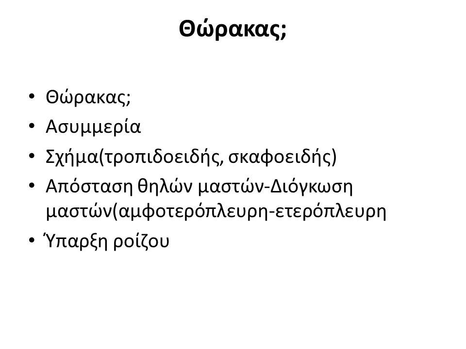 Θώρακας; Θώρακας; Ασυμμερία Σχήμα(τροπιδοειδής, σκαφοειδής)