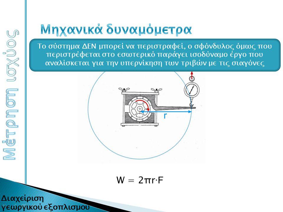 Μέτρηση ισχύος Μηχανικά δυναμόμετρα W = 2πr∙F