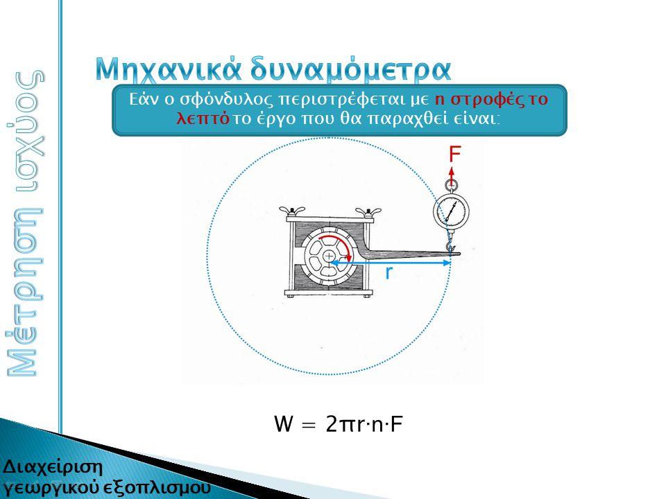 Μέτρηση ισχύος Μηχανικά δυναμόμετρα W = 2πr∙n∙F