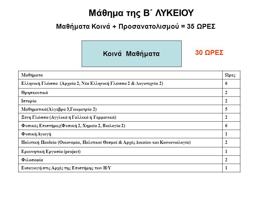 Μάθημα της Β΄ ΛΥΚΕΙΟΥ Μαθήματα Κοινά + Προσανατολισμού = 35 ΩΡΕΣ