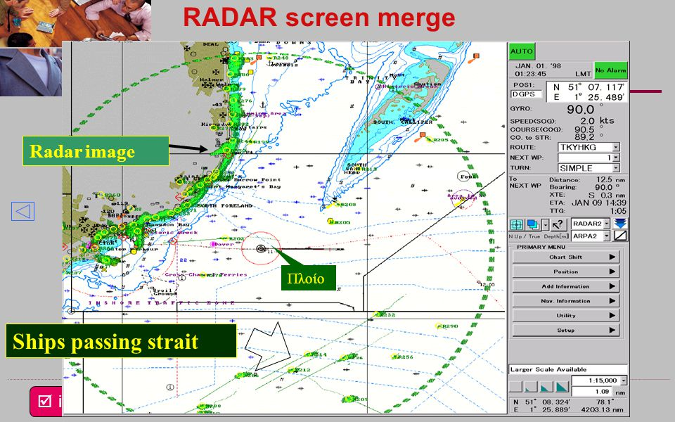 RADAR screen merge Ships passing strait Radar image Πλοίο