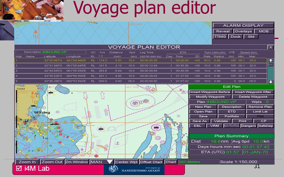 Voyage plan editor Η οθόνη σχεδίασης ταξιδιού επιτρέπει τον προγραμματισμό μικρού ταξιδιού ή τμήματος μεγάλου ταξιδιού.