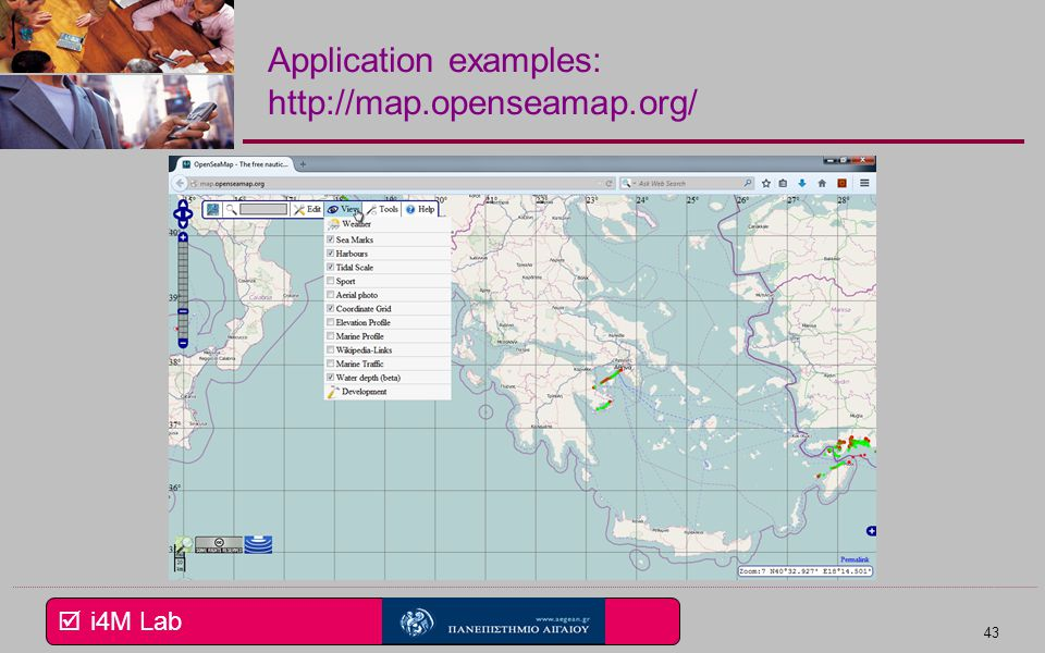 Application examples: http://map.openseamap.org/