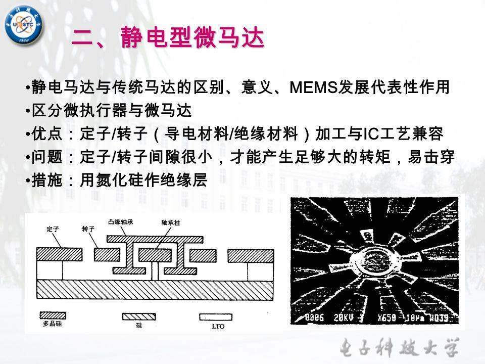 二、静电型微马达 静电马达与传统马达的区别、意义、MEMS发展代表性作用 区分微执行器与微马达