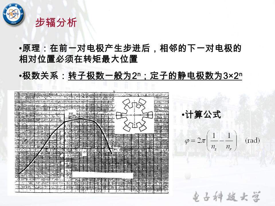 步辐分析 原理:在前一对电极产生步进后,相邻的下一对电极的相对位置必须在转矩最大位置 极数关系:转子极数一般为2n;定子的静电极数为3×2n