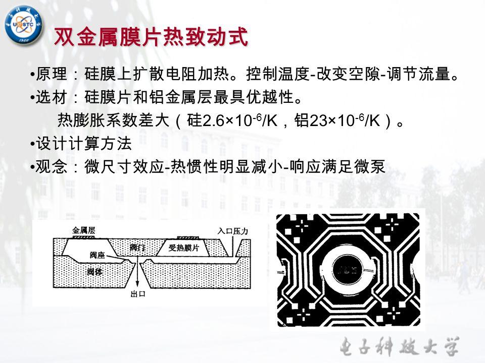 双金属膜片热致动式 原理:硅膜上扩散电阻加热。控制温度-改变空隙-调节流量。 选材:硅膜片和铝金属层最具优越性。