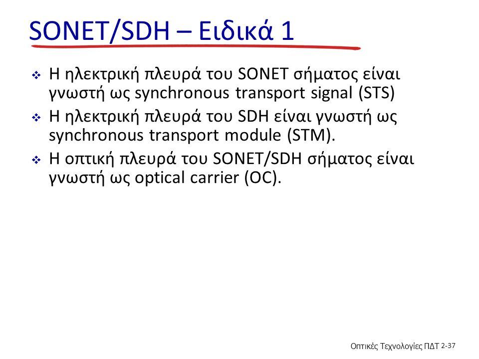 SONET/SDH – Ειδικά 1 Η ηλεκτρική πλευρά του SONET σήματος είναι γνωστή ως synchronous transport signal (STS)