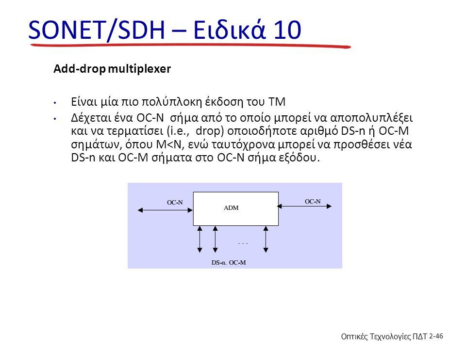 SONET/SDH – Ειδικά 10 Add-drop multiplexer