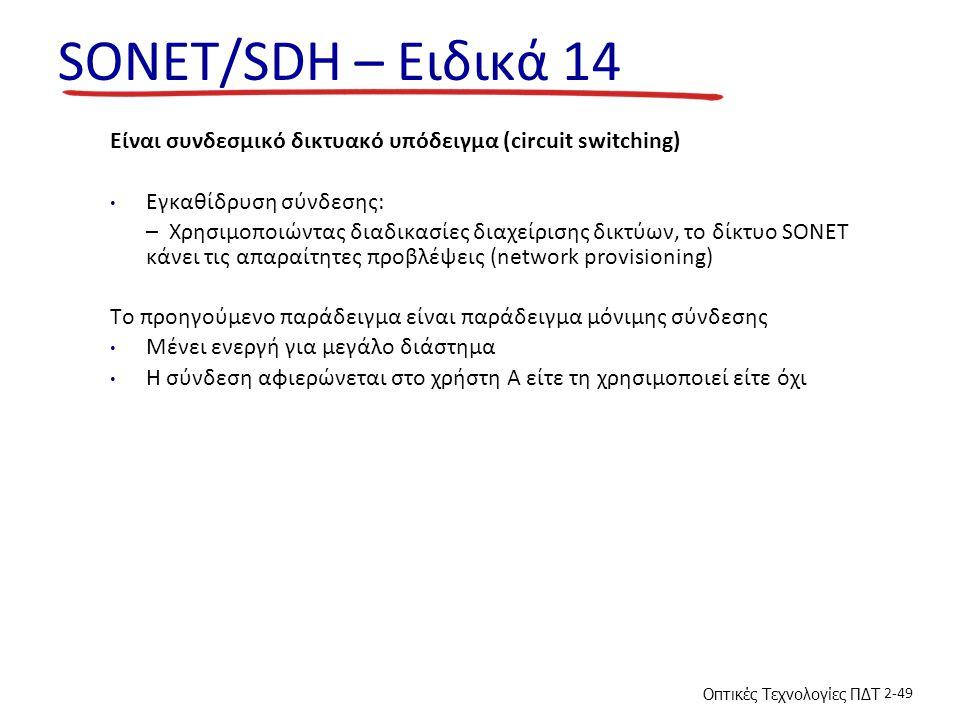SONET/SDH – Ειδικά 14 Είναι συνδεσμικό δικτυακό υπόδειγμα (circuit switching) Εγκαθίδρυση σύνδεσης: