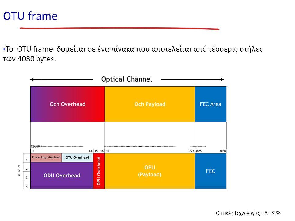ΟΤU frame To OTU frame δομείται σε ένα πίνακα που αποτελείται από τέσσερις στήλες των 4080 bytes.
