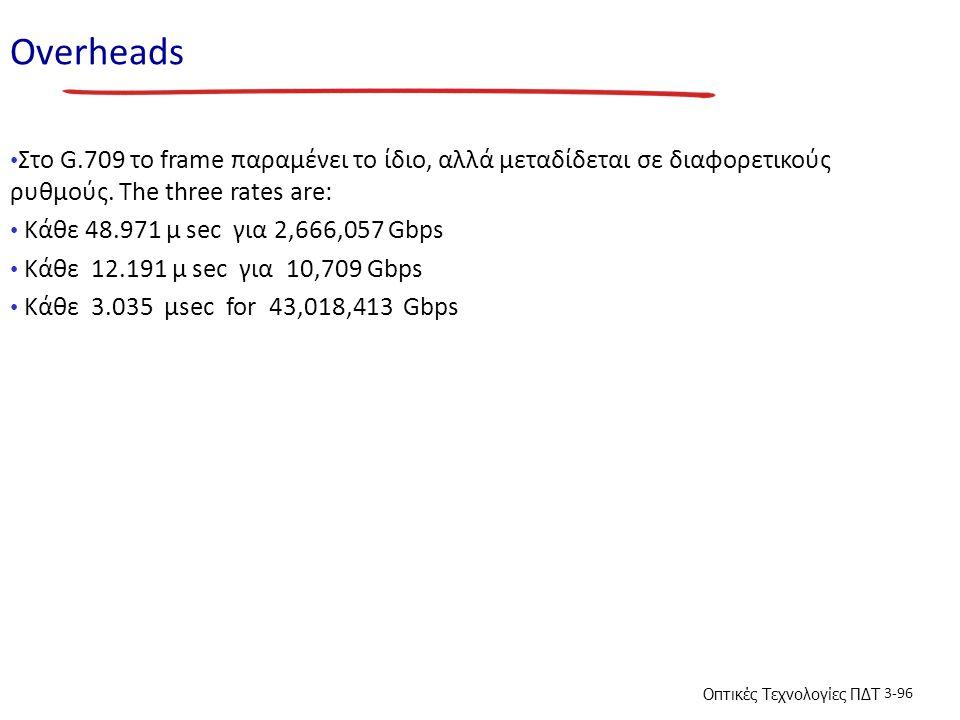 Overheads Στο G.709 το frame παραμένει το ίδιο, αλλά μεταδίδεται σε διαφορετικούς ρυθμούς. The three rates are: