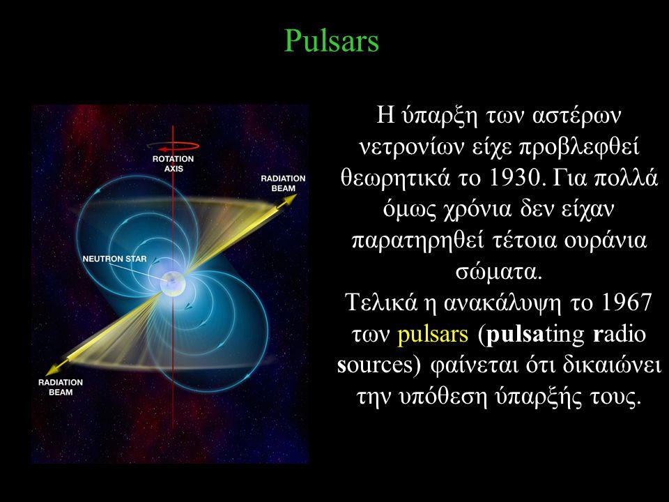 Pulsars H ύπαρξη των αστέρων νετρονίων είχε προβλεφθεί θεωρητικά το 1930. Για πολλά όμως χρόνια δεν είχαν παρατηρηθεί τέτοια ουράνια σώματα.