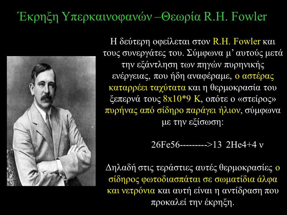 Έκρηξη Υπερκαινοφανών –Θεωρία R.H. Fowler