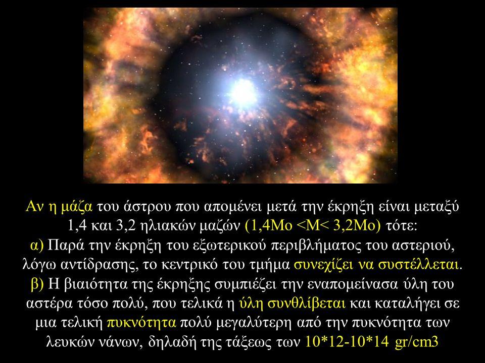 Aν η μάζα του άστρου που απομένει μετά την έκρηξη είναι μεταξύ 1,4 και 3,2 ηλιακών μαζών (1,4Mο <M< 3,2Mο) τότε: