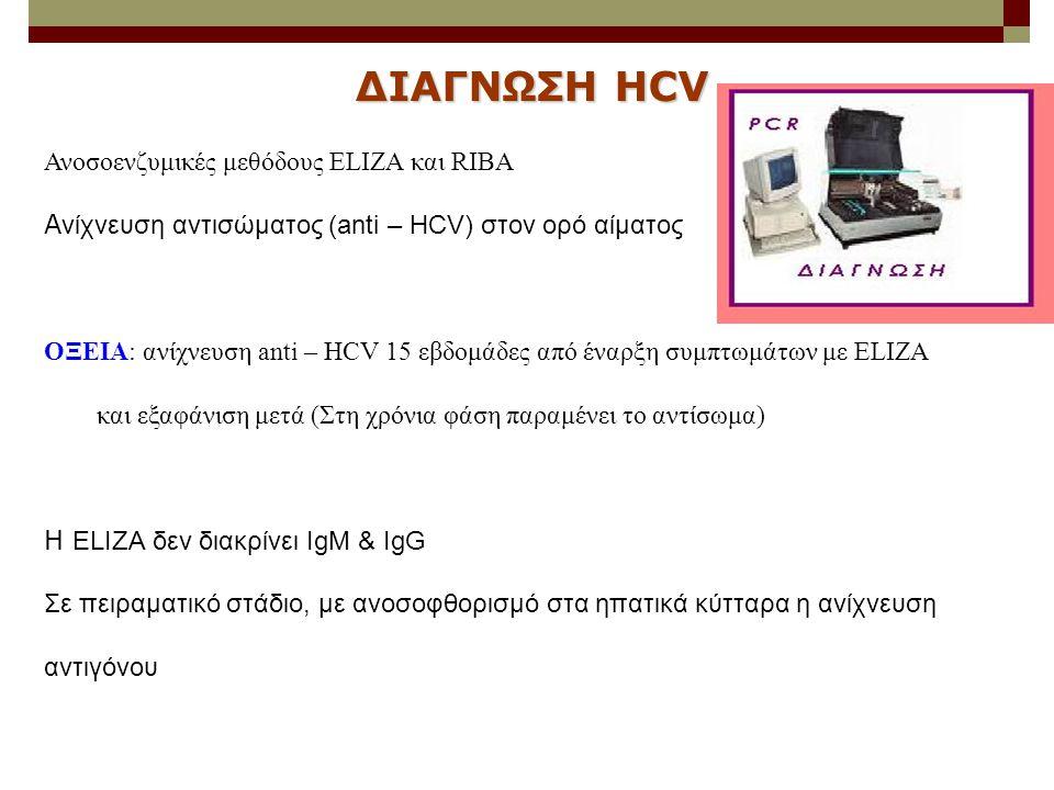 ΔΙΑΓΝΩΣΗ HCV Ανοσοενζυμικές μεθόδους ELIZA και RIBA