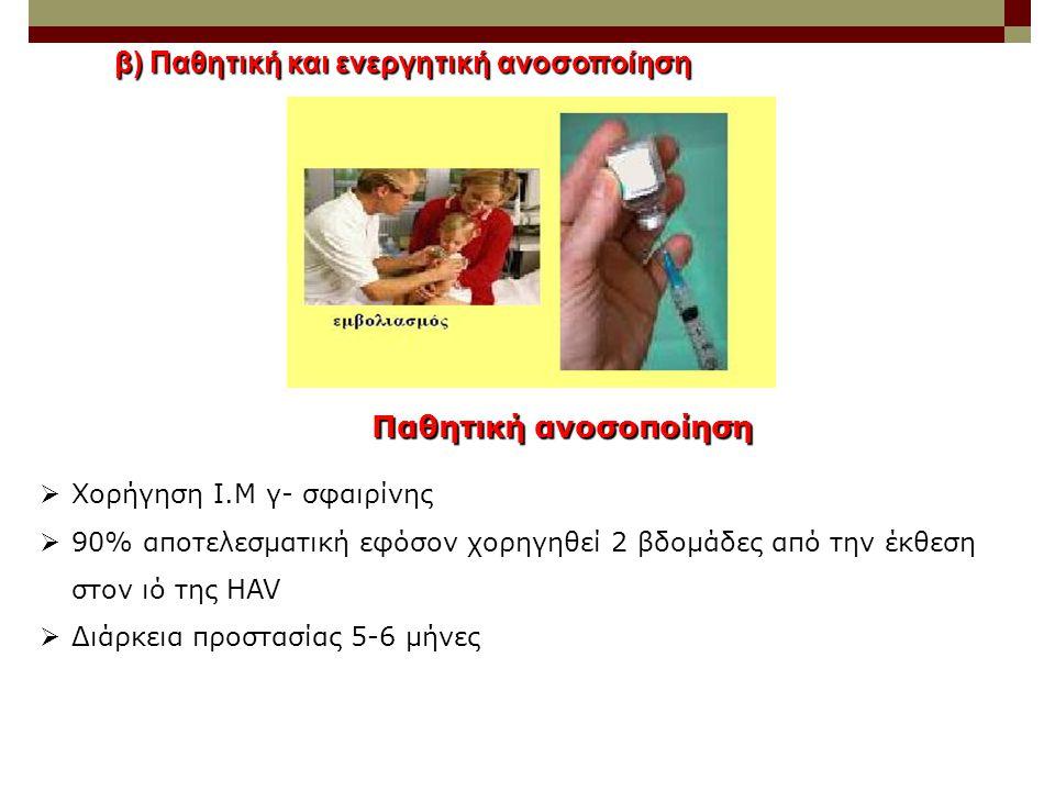 β) Παθητική και ενεργητική ανοσοποίηση
