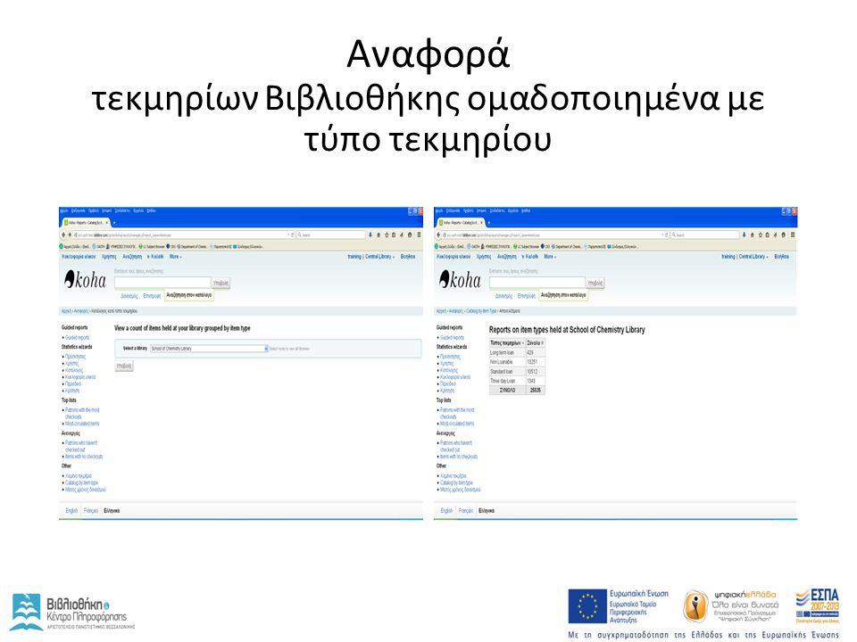 Αναφορά τεκμηρίων Βιβλιοθήκης ομαδοποιημένα με τύπο τεκμηρίου