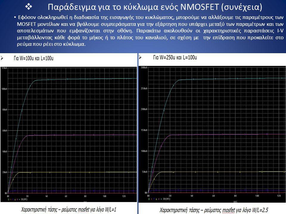 Παράδειγμα για το κύκλωμα ενός NMOSFET (συνέχεια)