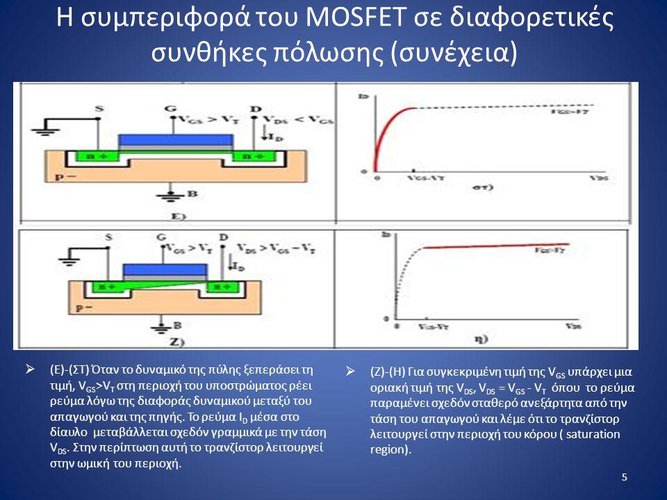 Η συμπεριφορά του MOSFET σε διαφορετικές συνθήκες πόλωσης (συνέχεια)