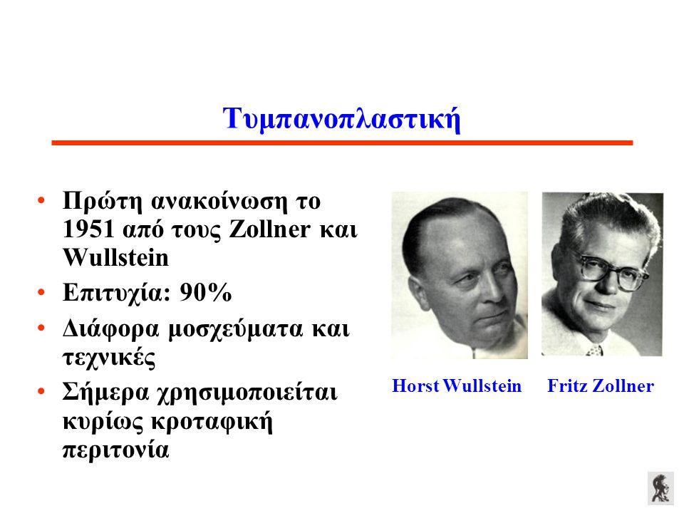 Τυμπανοπλαστική Πρώτη ανακοίνωση το 1951 από τους Zollner και Wullstein. Επιτυχία: 90% Διάφορα μοσχεύματα και τεχνικές.