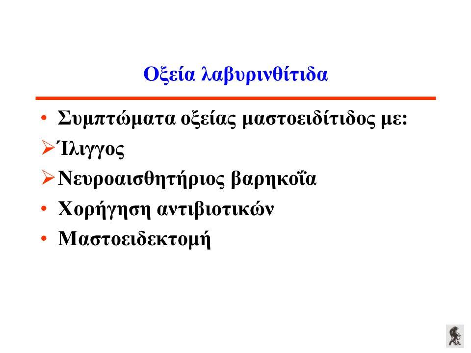 Οξεία λαβυρινθίτιδα Συμπτώματα οξείας μαστοειδίτιδος με: Ίλιγγος. Νευροαισθητήριος βαρηκοΐα. Χορήγηση αντιβιοτικών.