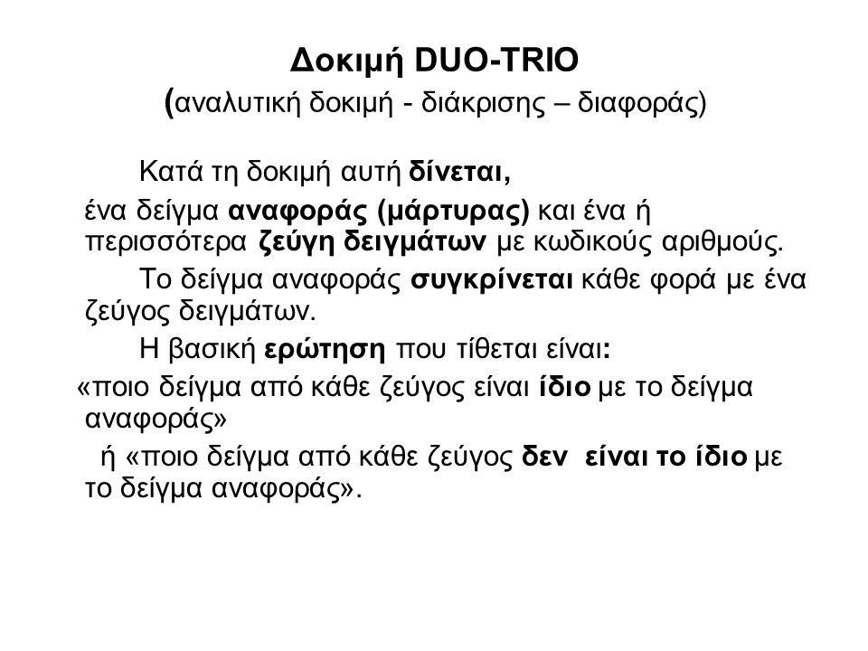 Δοκιμή DUO-TRIO (αναλυτική δοκιμή - διάκρισης – διαφοράς)
