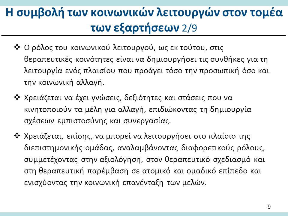 Η συμβολή των κοινωνικών λειτουργών στον τομέα των εξαρτήσεων 3/9