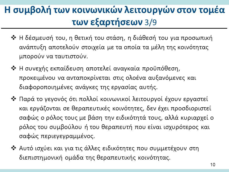 Η συμβολή των κοινωνικών λειτουργών στον τομέα των εξαρτήσεων 4/9