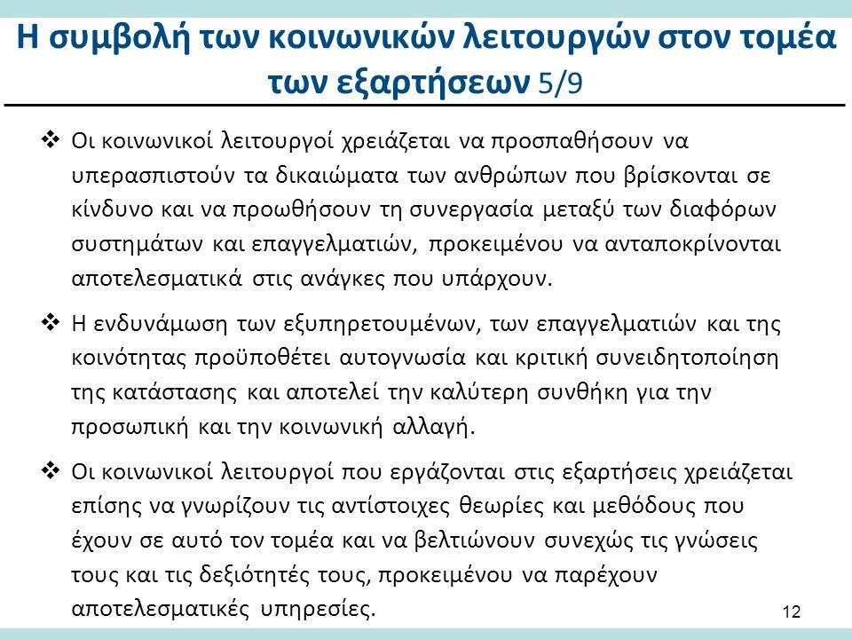 Η συμβολή των κοινωνικών λειτουργών στον τομέα των εξαρτήσεων 6/9
