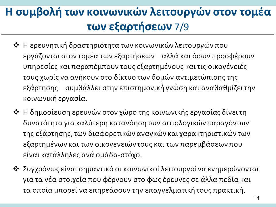 Η συμβολή των κοινωνικών λειτουργών στον τομέα των εξαρτήσεων 8/9