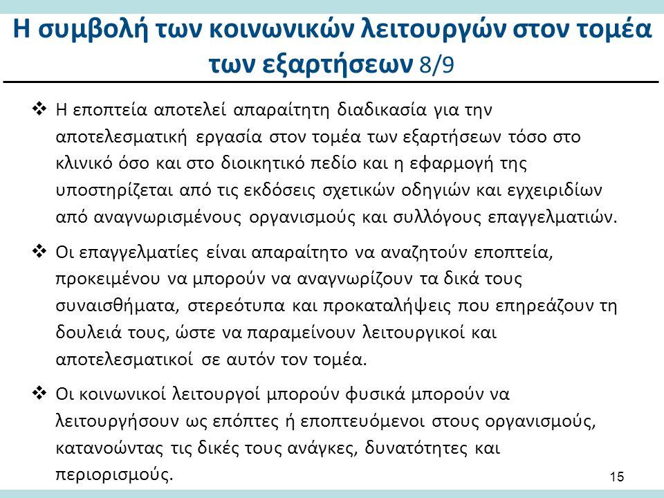 Η συμβολή των κοινωνικών λειτουργών στον τομέα των εξαρτήσεων 9/9
