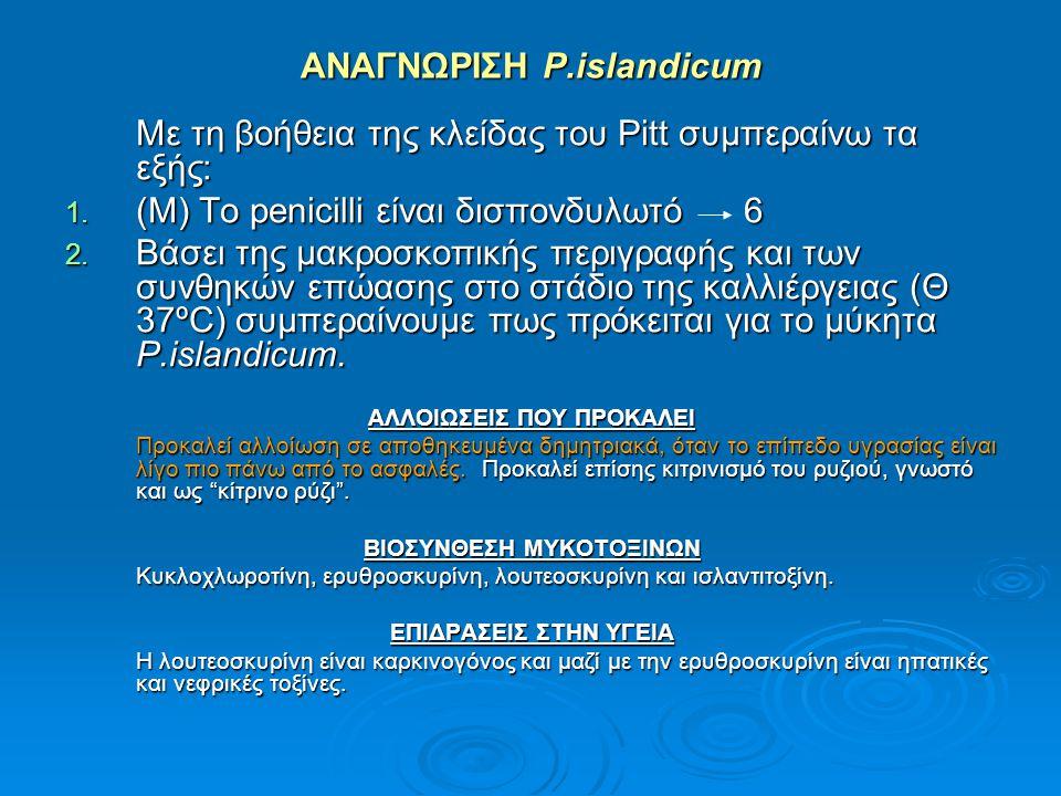 ΑΝΑΓΝΩΡΙΣΗ P.islandicum