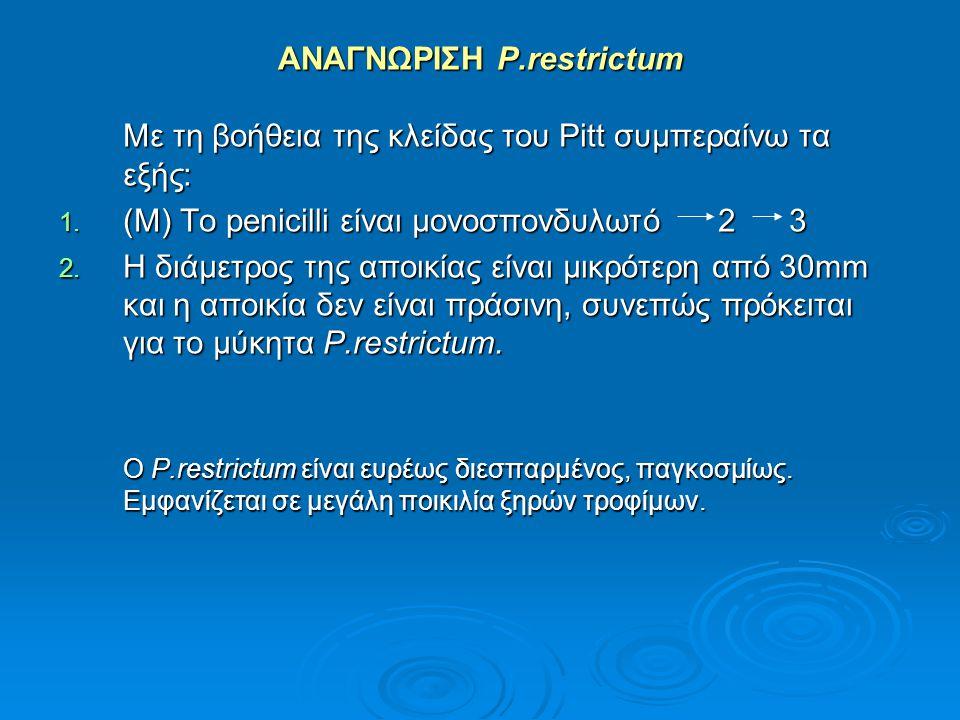 ΑΝΑΓΝΩΡΙΣΗ P.restrictum