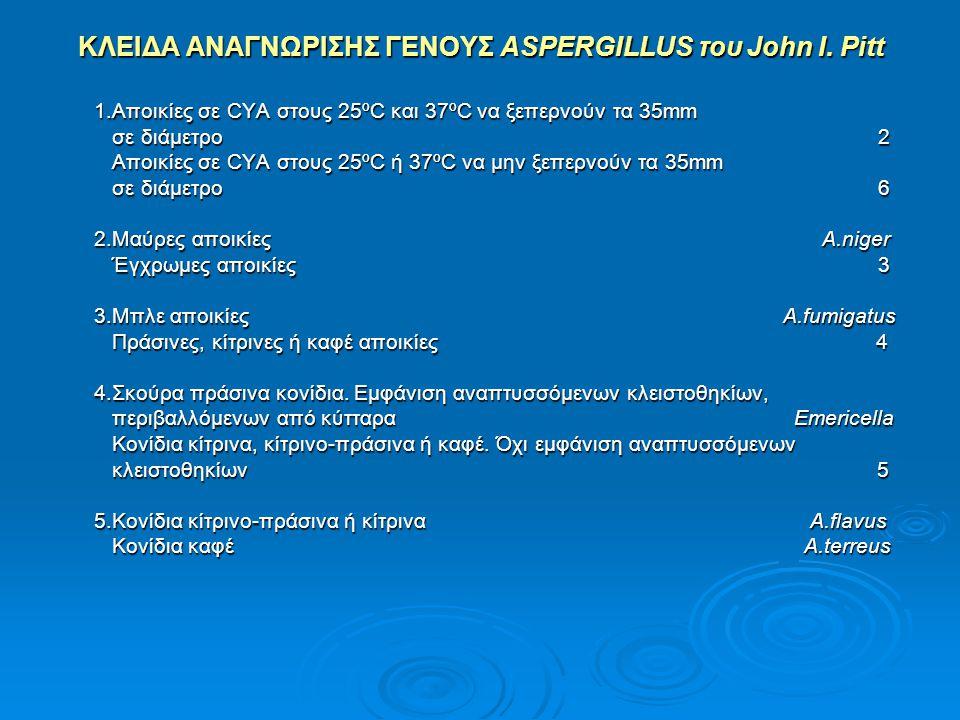 ΚΛΕΙΔΑ ΑΝΑΓΝΩΡΙΣΗΣ ΓΕΝΟΥΣ ASPERGILLUS του John I. Pitt